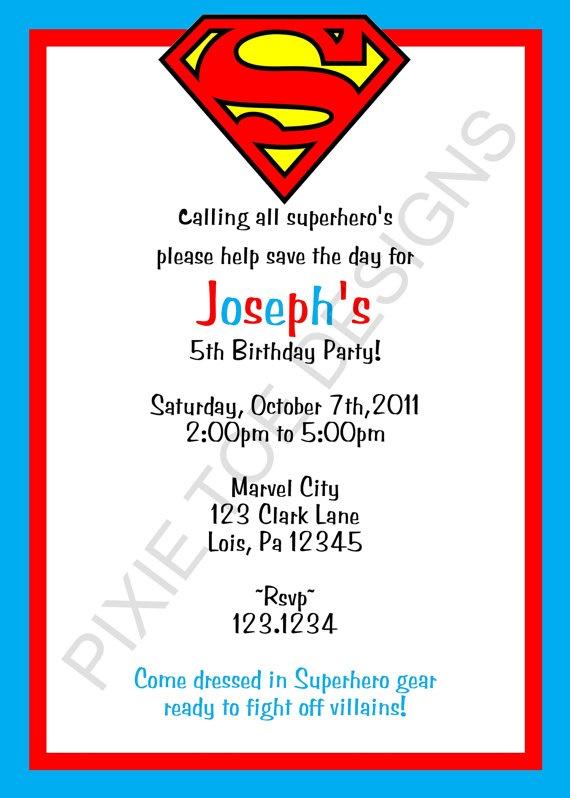 Superman party invite