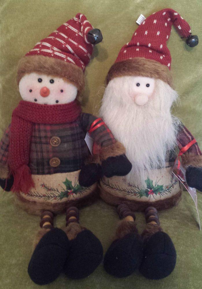 Plush Tartan Santa Claus Snowman Beady Legs Shelf Sitting Christmas Decoration