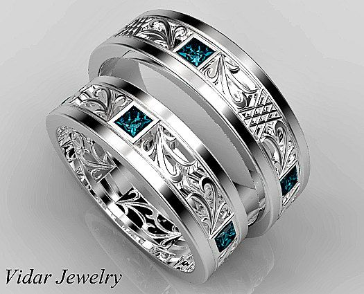 Matching Wedding Band Set,His and Hers Blue Diamond Wedding Band Set,Unique Matching Wedding Band Set,Princess Cut Diamond Ring Set by Vidarjewelry on Etsy