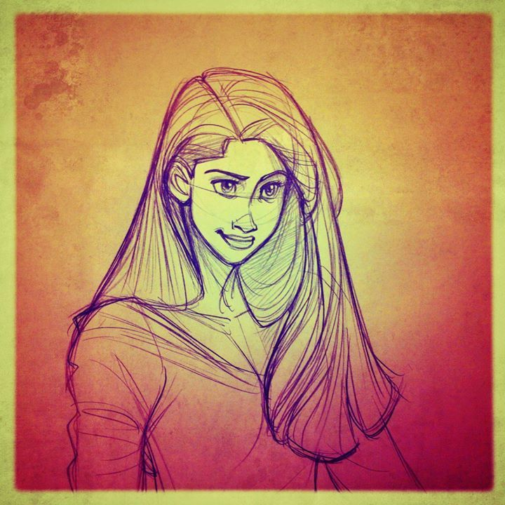 Girl with long and strong Hair. Illustration, drawing, sketch  / Ragazza con capelli lunghi e forti. Illustrazione, disegno, bozzetto - by Rob Jacobs