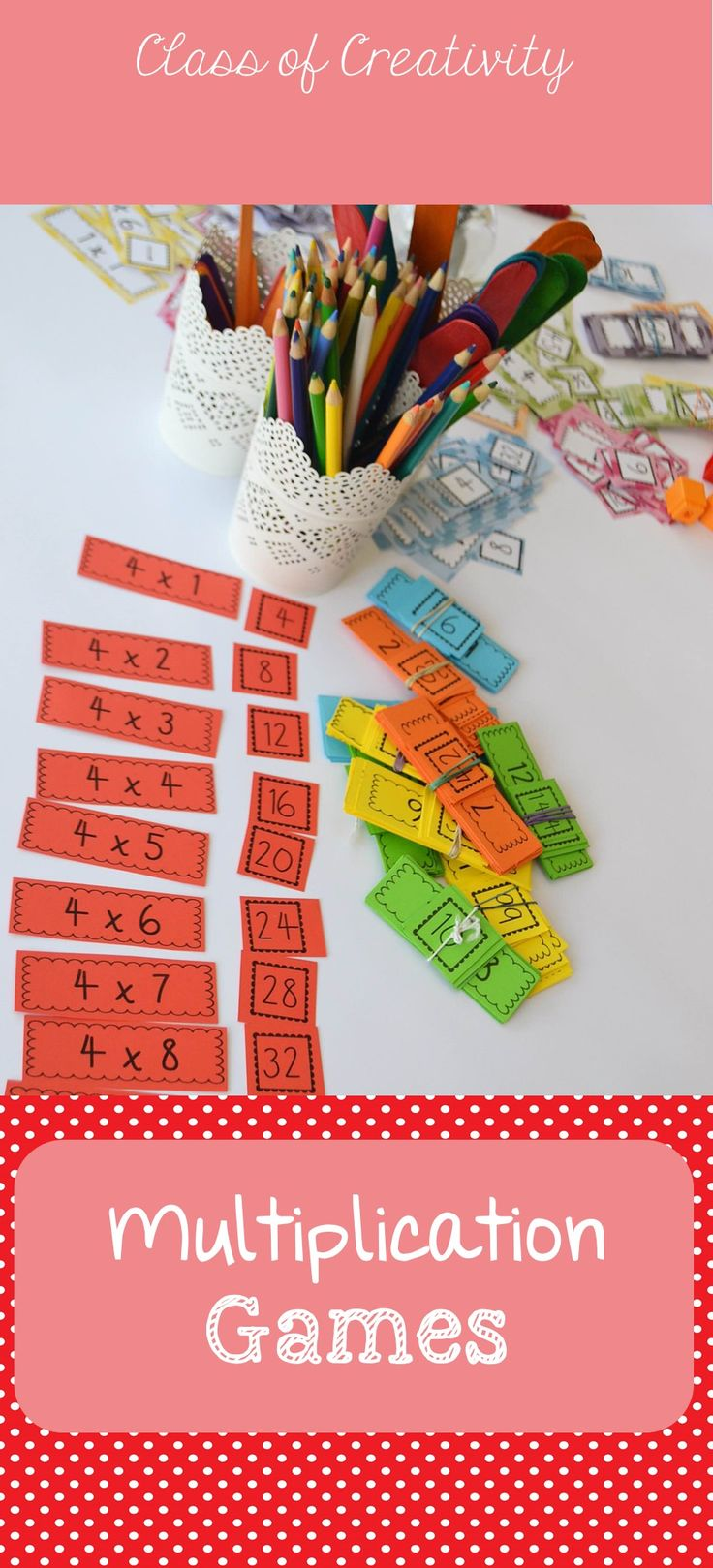 MATCHING GAME Set children up with one set of tables between two. One child takes all the answers, one child takes all the questions. Give the children time to match all tables to answers or play two pairings against each other – my students LOVE this!