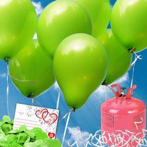 Runde apfelgrüne Luftballons - Luftballons steigen lassen