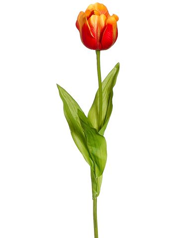 Beautiful and realistic silk tulip flower in yellow orange. Perfect for any arrangement. Add a