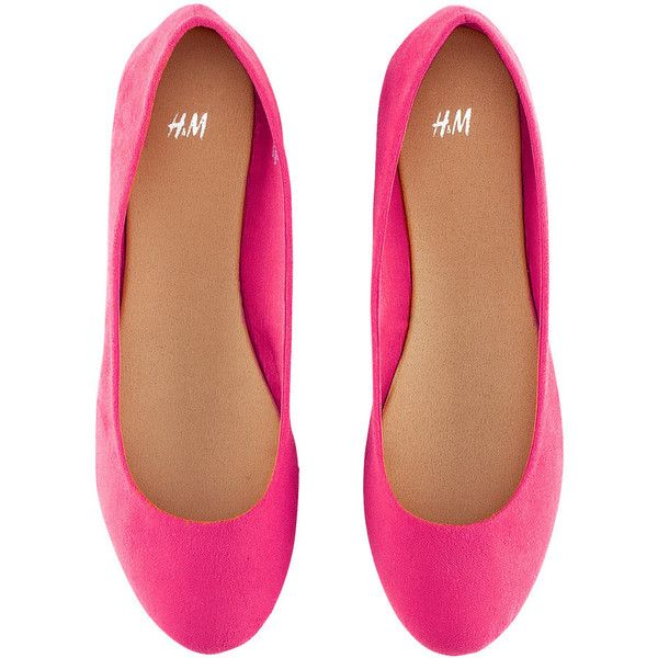 H&M Ballet Pumps featuring polyvore, women's fashion, shoes, flats, sapatos, zapatos, pink, women, pink flat shoes, h&m shoes, skimmer flats, pink ballet flats and pink shoes