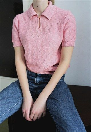 70s Pink Knitted Top