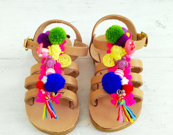 "gladietor mini for girls/handmade greek sandals /aelia boho /""chrisalenia""/pom pom gladietor"