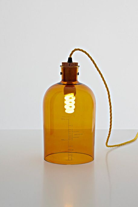 Recycle wine bottles into pendant lamps