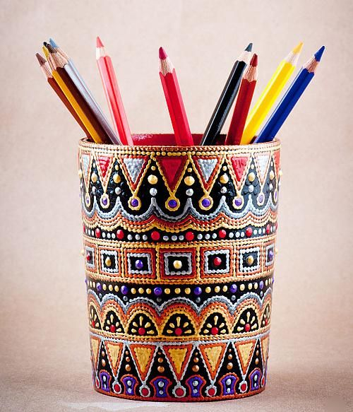 GlobeIn:  Hand painted Pencil Box, point-to-point style