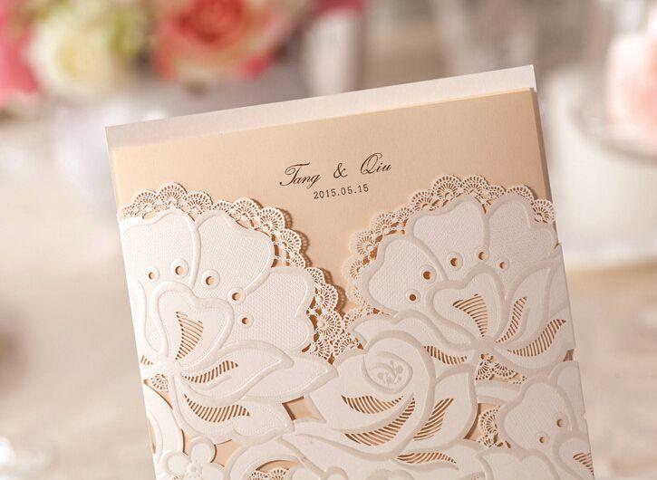 1 образец элегантный цветочный дизайн лазерной резки свадебные приглашения карты цвета слоновой кости печать с конверт уплотнения, принадлежащий категории События и праздничные атрибуты и относящийся к Для дома и сада на сайте AliExpress.com | Alibaba Group