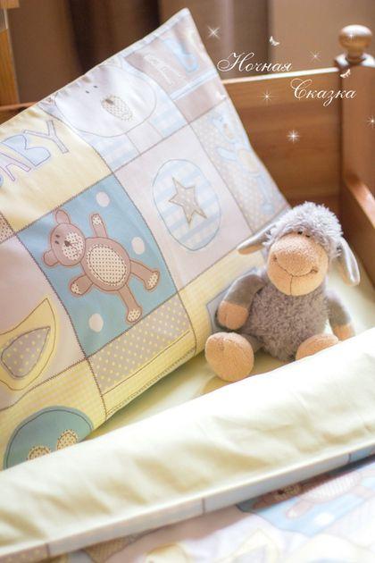 """Комплект в кроватку детское постельное белье """"Мишки Тедди"""" - голубой,сливочный"""