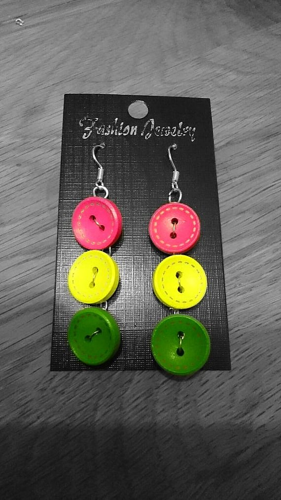 Buy at: https://www.etsy.com/uk/shop/KinleysDesigns  #buttons #buttonjewelry #buttonearrings #earrings #pink #yellow #green #jewelry #accessories #creative
