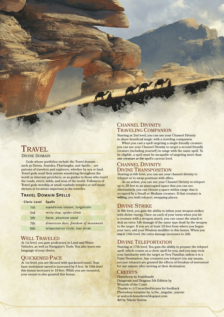 DnD 5e Homebrew — Travel Domain Cleric by IrishBandit