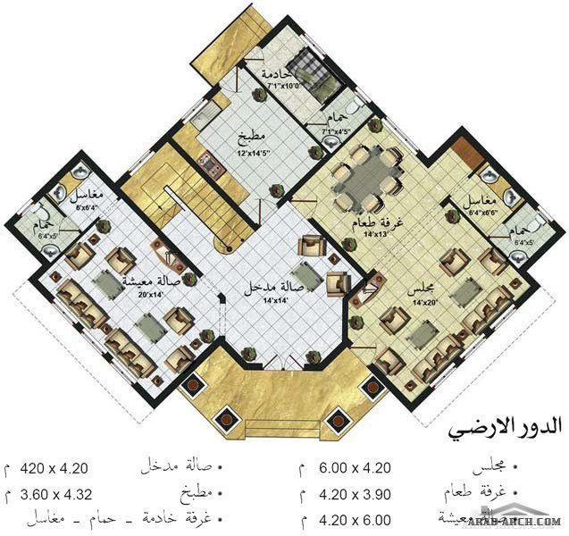 مخطط فيلا خليجى دورين مساحه اجمالية 343 متر مربع Arab Arch House Plans 3d House Plans Floor Plan Design