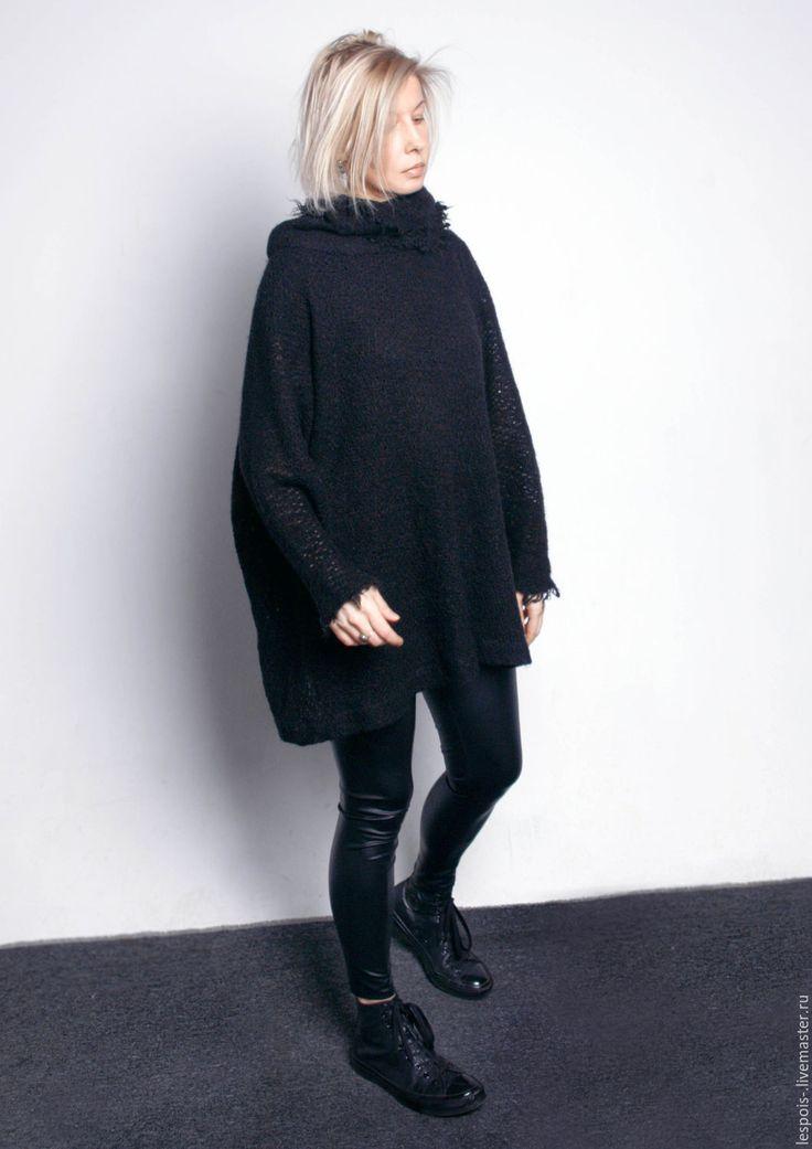Купить Свитер - черный, свитер, теплый свитер, оверсайз, зима 2017, чёрно-белый, black