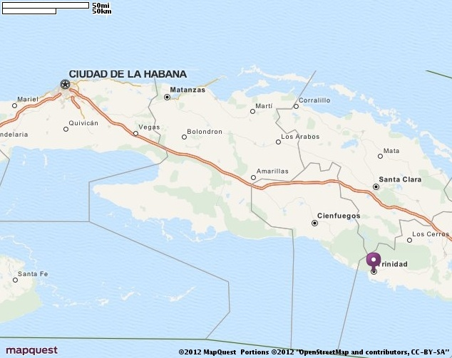 Map of Trinidad, Cuba. Helping you discover the REAL Cuba. Find out more at www.cubarocks.co.uk  Source: map quest
