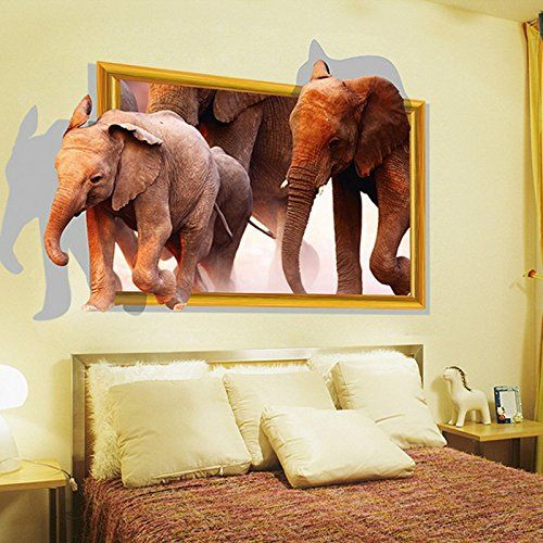 3D African Elephants Wall Decal Home Sticker PVC Murals Vinyl Paper House Decoration WallPaper Living Room Bedroom Kitchen Art Picture DIY for kids Teen Senior Adult Nursery Baby *** Find out more about the great product at the image link.