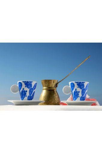 Cactus Espresso Cups - Blue & White