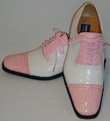 Roberto Chillini 6600 Mens White, Light Pink Spectator Fashion Dress Shoes