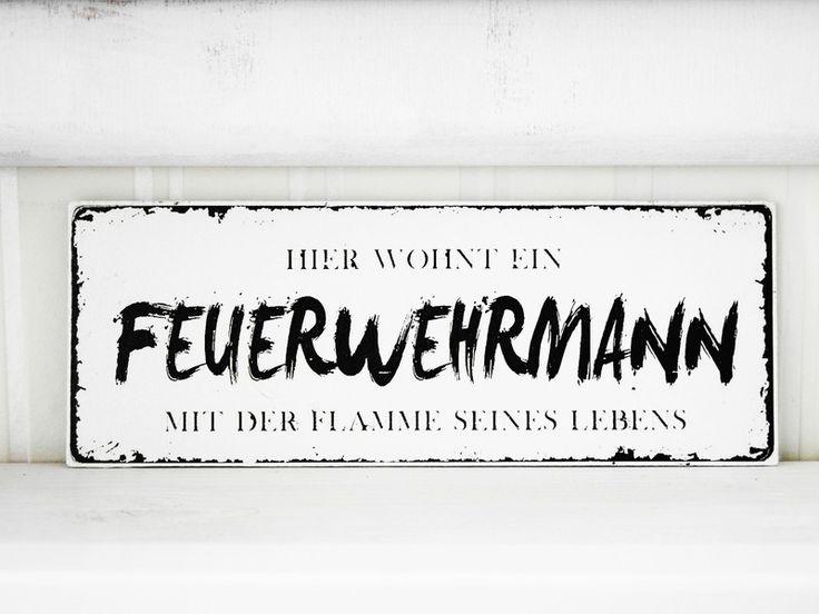 Shabby Vintage Holz Schild FEUERWEHRMANN Nostalgie