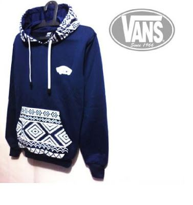 Jaket Sweater Vans Batik Navy Bahan Fleece
