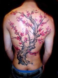 tatouage arbre couleur dos complet homme