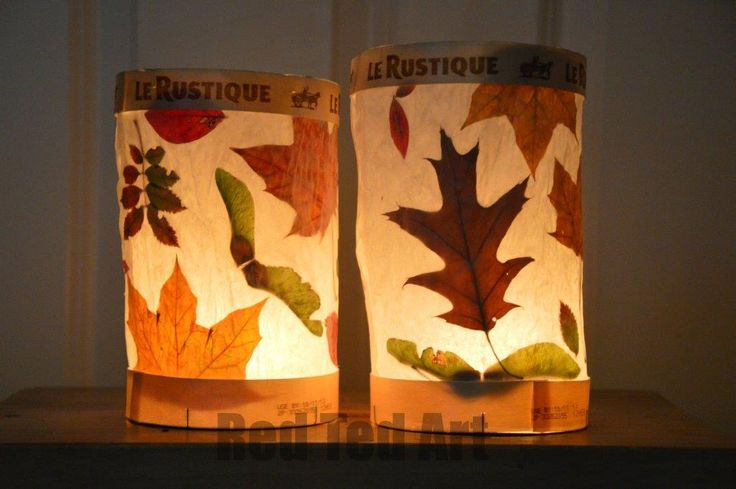 Simple Leaf Lanterns - use cardboard instead of cheese boxes