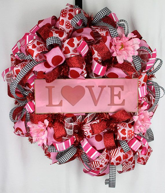 Valentines Wreath Valentines Door Swag Valentines Deco Mesh Love all these beautifully handcrafted wreaths for valentine's day. Perfect decor to add a little bit of seasonal love to your front door, porch, or patio. Love this wreath idea. #wreath #vday #valentinesday #afflink