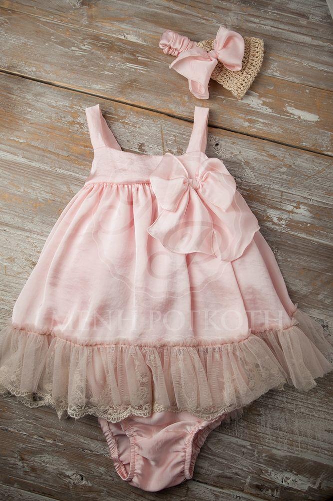 Βαπτιστικό ρούχο για κορίτσι ροζ μεταξωτό