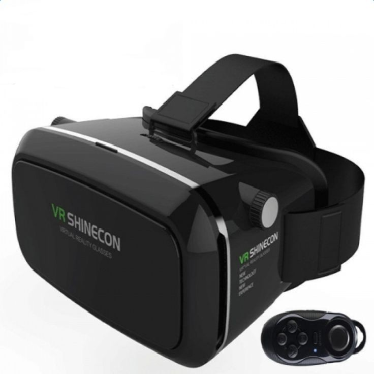 VR Shinecon Virtual Reality 3D Glasses with Bluetooth Controller for Smartphone Black