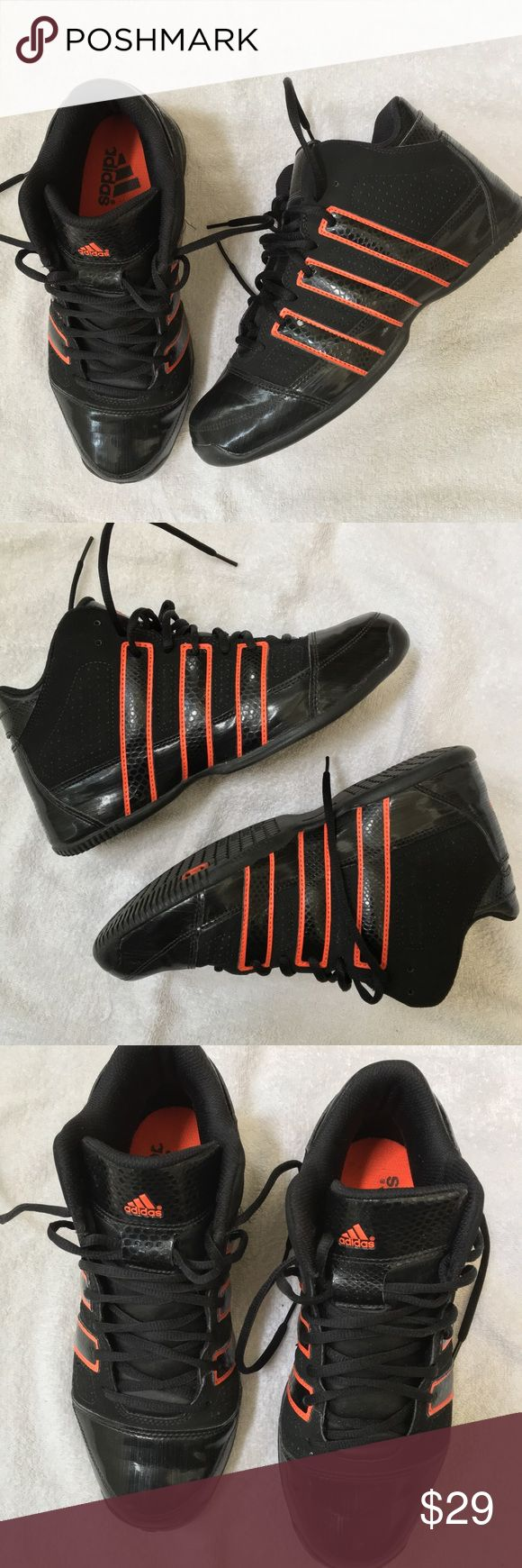 Adidas Basketball shoes Excellent condition. 7 Men's / 9 Women's. Mid, not high top. Black and Hyper Orange (dark orange, almost red). Pictures in natural sunlight to show fabric, patent leather and color. Feel free to offer. Adidas Shoes Athletic Shoes