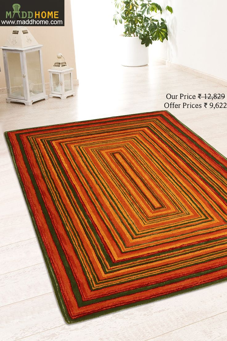 Grab This Derince Orange Hand Tufted Carpet Perfect For Your Living Room Decor Here