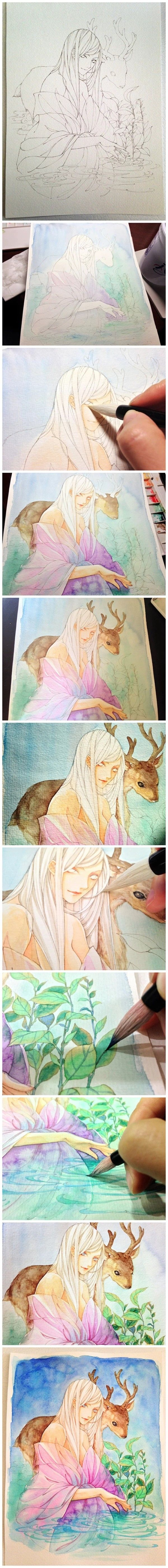 水彩步骤 鹿 仙境 人物 唯美