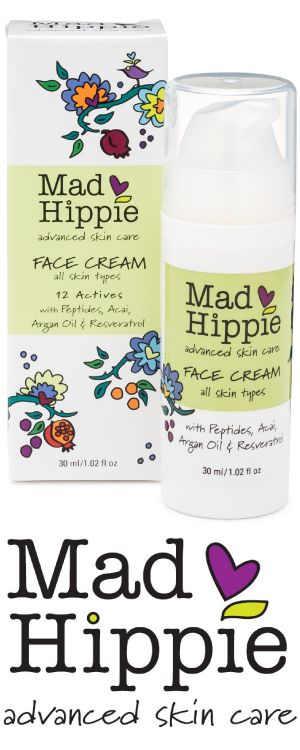 """Awarded """"Best Daily Moisturizer"""" by Natural Solution Magazine, Mad Hippie's peptide-rich face cream works to kick-start collagen production while natural antioxidants heal & protect."""