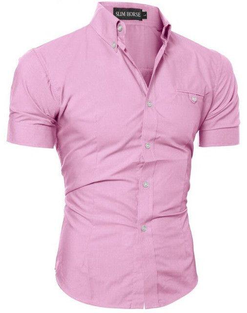 2017 New Men's Shirts Men's Short-Sleeved Shirts Solid Color Cotton Brand Shirts Fashion Slim Leisure Men 's Dress Shirt JUN