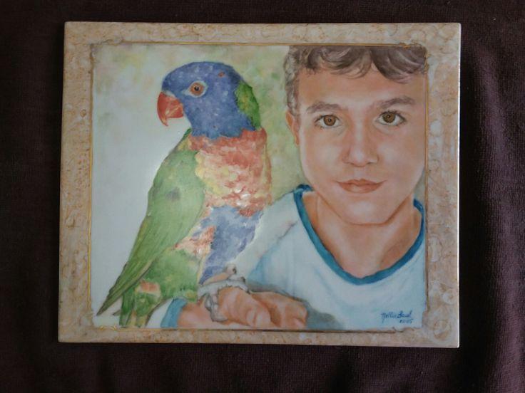 "Hand painted pocelain tile by Nellie.   ""Jonathan and Rambo, the rainbow lorikeet"""