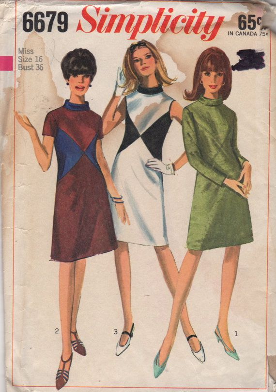 Simplicity6679 1960s Misses Mod DRESS Pattern Color Blocking womens vintage sewing pattern by mbchills