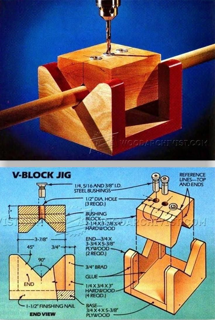 V-Block Drill Jig - Drill Tips, Jigs and Fixtures   WoodArchivist.com
