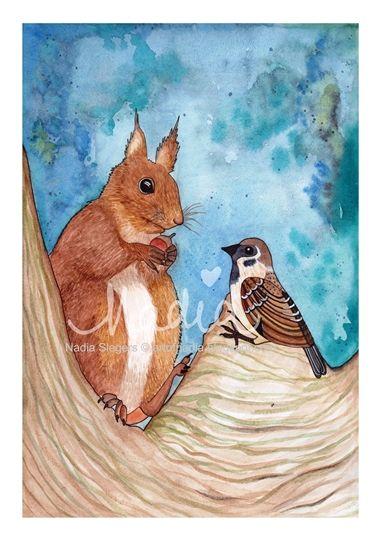 Squirrel & Sparrow (www.artofnadia.blogspot.com)