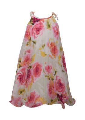 Bonnie Jean Girls' Floral Chiffon Dress Girls 4-6X - White - 6X