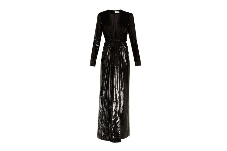 "Velvet-lamé gown, £3,425 at [link url=""https://www.matchesfashion.com/products/Saint-Laurent-Deep-V-neck-velvet-lam%C3%A9-gown--1162698""]Matchesfashion.com[/link]."