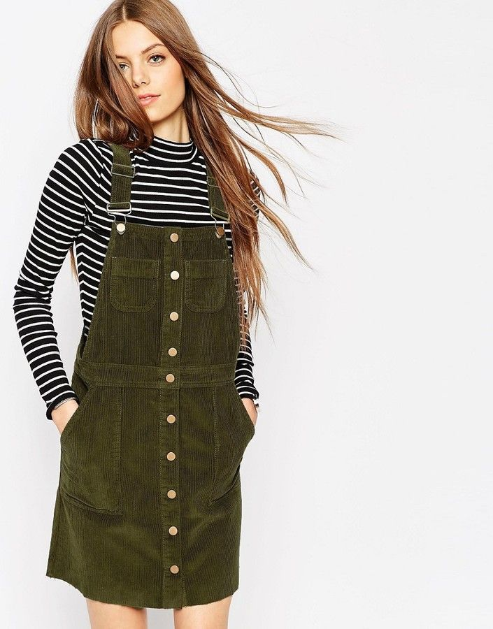 ASOS COLLECTION ASOS Cord Button Front Overall Dress With Raw Hem In Olive Green