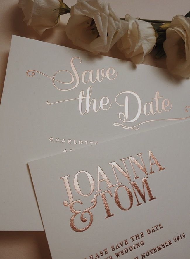 Rose Gold and Marble – the ultimate in luxe stationery Save the Dates by Gee Bro…