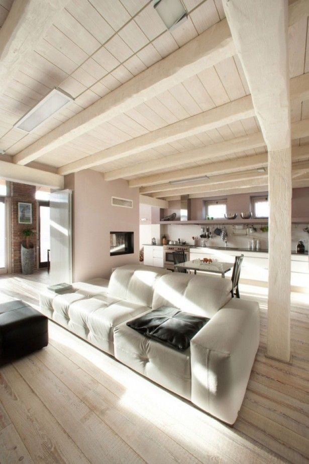 Living Room, White Wooden Ceiling Design Idea Also Trendy Long Sofa And  Black Ottoman Coffee Part 92
