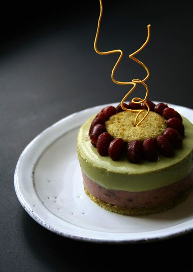 Matcha and Azuki Bean Mousse Cake