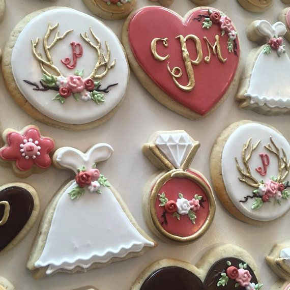 Rustic Dusty Rose bridal shower cookie set by TheHayleyCakes
