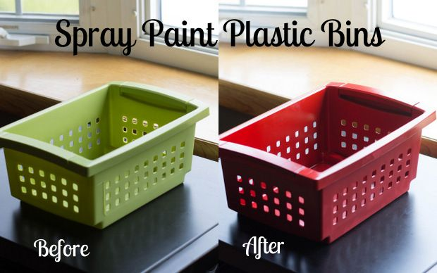 How to Spray Paint Plastic Bins...going to do this to all the bins in our house!