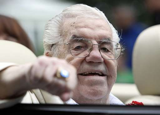 FILE - In this June 12, 2011, file photo, Lou Duva gestures at the Boxing Hall of Fame parade in Can... - AP Photo/Mike Groll