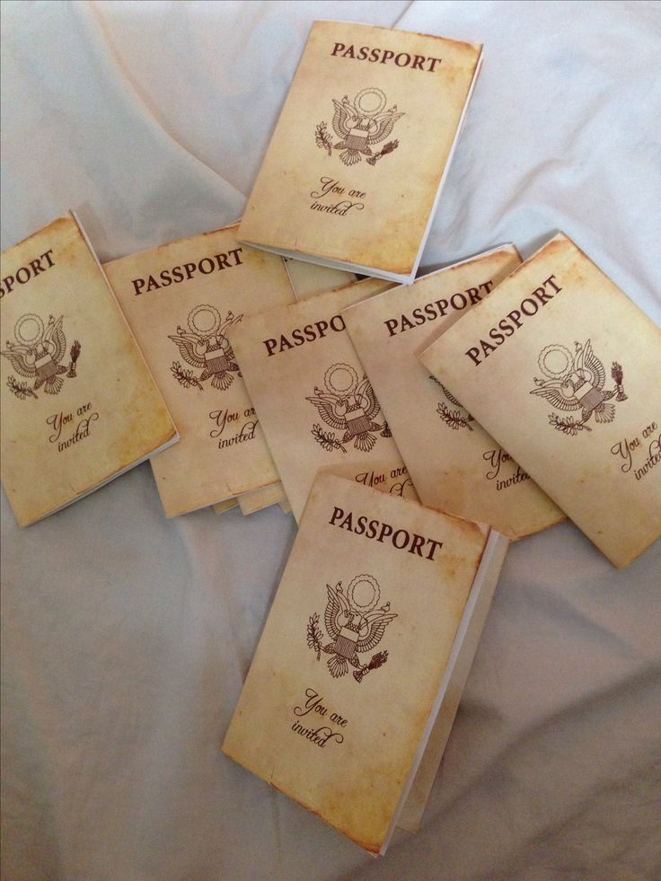 "My passport invites for a travel theme party :) Have guests ""check in"" with their passports and then go through EACH room to get a ""stamp"" at end of the night, do drawings with the passports for prizes!"