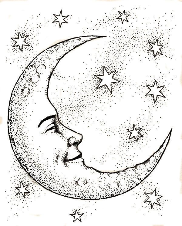 Crescent Moon Face & Stars Coloring Page                                                                                                                                                     More