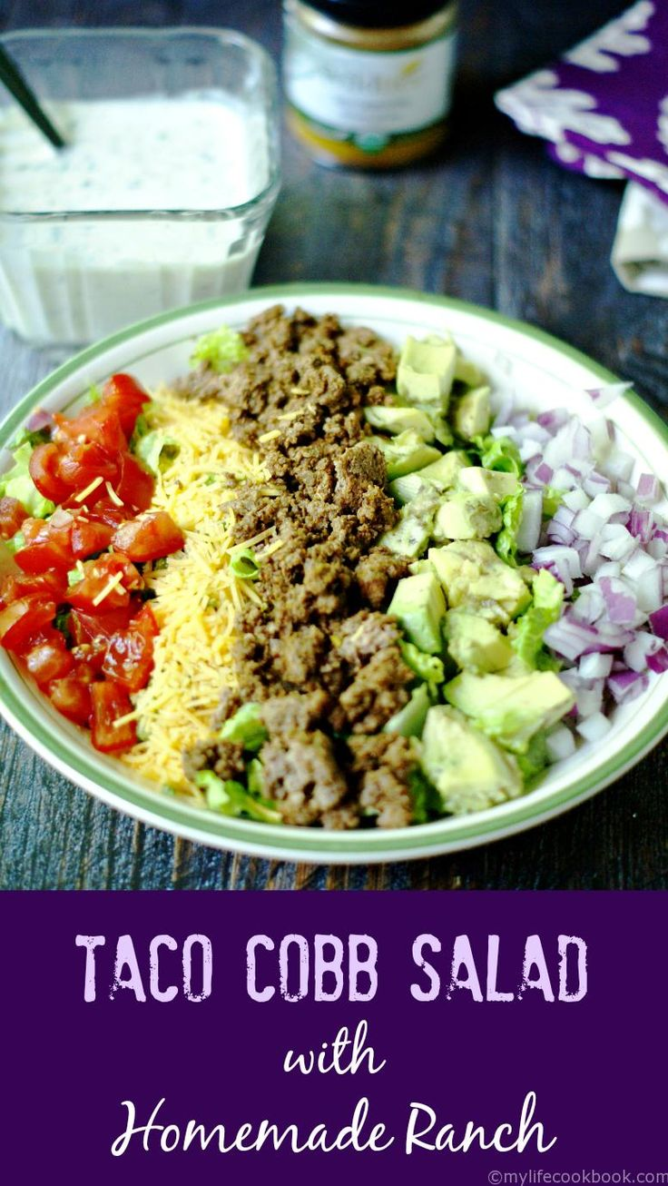 This taco cobb salad is the perfect low carb lunch or dinner. The only thing that makes it better is the homemade ranch dressing!